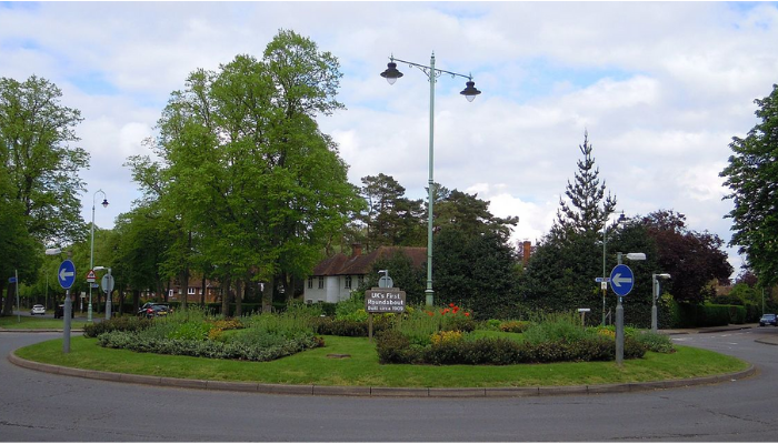 The first roundabouts in the UK was built in Letchworth Garden City in 1909.